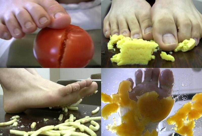 【フークラ】生足で食べ物をねちゃねちゃと潰し足裏を汚すフェチ動画
