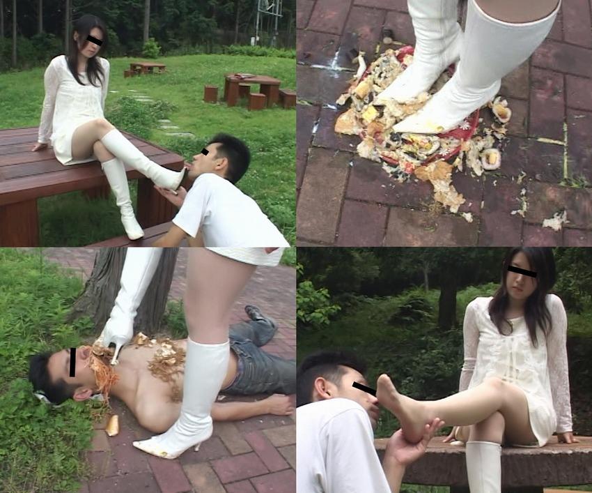【M男】清楚なお嬢様の白ロングブーツで食攻めされる幸せなマゾ男