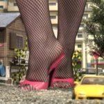 Giantess~赤いワンピース&サンダル&網タイツの巨大女が街を破壊!