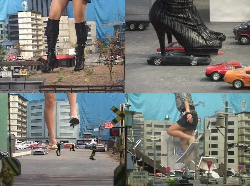 【Giantess】黒ブーツ美脚巨大娘の出現で街は逃げ場の無い修羅場と化す!人間や車が踏み潰され、住宅やビル、高架道路が破壊される!