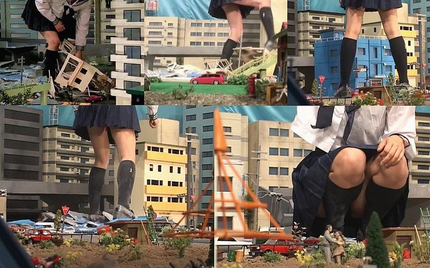 【Size Fetish】巨大化したローファー女子高生JKが自衛隊と対決!躊躇なくビル、車、電車を無残にも踏み潰して粉々に粉砕するジャイアンテスJKのGTSクラッシュ映像
