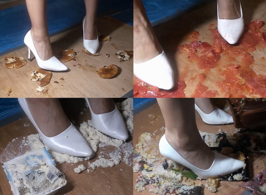 【フークラ】美脚で上品なお嬢様が白ハイヒールでフードクラッシュ!破壊の美学とも言うべき、若干道徳的に反しそうな行為が脚フェチには堪らない魅力です!