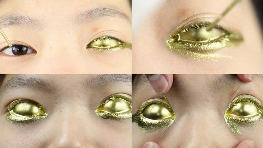 【目玉フェチ】Golden Eyes(黄金の目)金粉マニアも衝撃的な映像!全身金粉にする際に目のみを金色にするゴールデンアイ「金粉目玉フェチ」の人が沢山いる事を知り、金目(ゴールドアイ)だけを中心に撮影し通常のビデオカメラでは撮影できない距離での撮影を行っています。