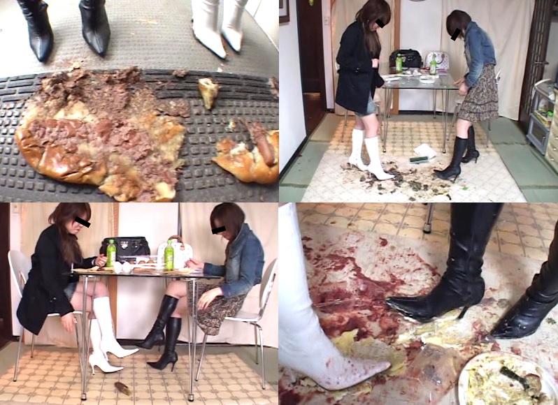 【フークラ】女子大生が寿司 ケーキ おはぎ…をロングブーツでクラッシュ!