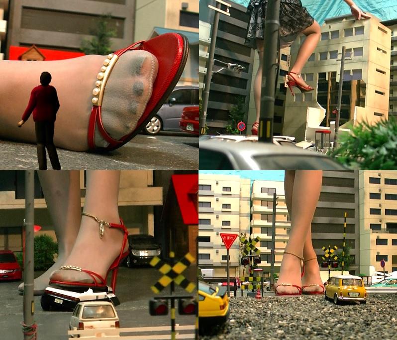 パンストを穿いた巨大娘がビル 車 人を踏み潰し街を崩壊させる