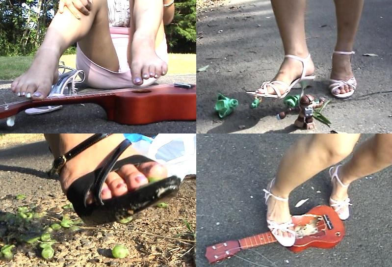 美脚女子がヒールの尖ったサンダルで虫 果物 スライムをガシガシ踏み潰す!
